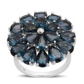 London Blue Topaz Sterling Silver Ring (Size 10.0) TGW 12.400 cts.