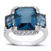 London Blue Topaz, White Topaz Sterling Silver Ring (Size 8.0) TGW 10.550 cts.