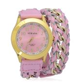 STRADA Japanese Movement Wrap Watch with Pink Band and Stainless Steel Back