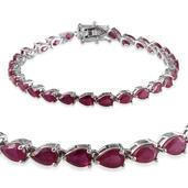Niassa Ruby Platinum Over Sterling Silver Bracelet (7.50 In) TGW 16.250 cts.
