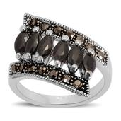 Black Glass, Grey Austrian Crystal Dark Silvertone Ring (Size 8.25) TGW 0.002 cts.
