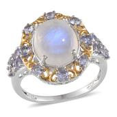 Sri Lankan Rainbow Moonstone, Tanzanite 14K YG and Platinum Over Sterling Silver Ring (Size 9.0) TGW 6.000 cts.