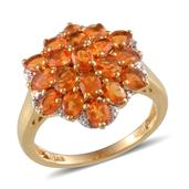 Jalisco Fire Opal 14K YG and Platinum Over Sterling Silver Floral Ring (Size 6.0) TGW 2.250 cts.