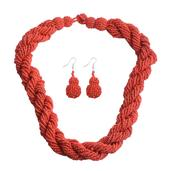 Red Seed Bead Stainless Steel Earrings and Necklace (20 in)