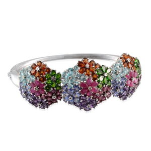 Multi Gemstone, Diamond Platinum Over Sterling Silver Bangle (7.5 in) TGW 32.200 cts.