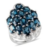London Blue Topaz, Diamond Platinum Over Sterling Silver Ring (Size 6.0) TDiaWt 0.03 cts, TGW 13.030 cts.