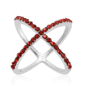 Red Austrian Crystal Stainless Steel Ring (Size 7.0)