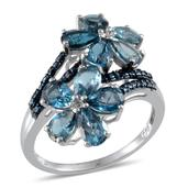 London Blue Topaz, Blue Diamond Platinum Over Sterling Silver Floral Ring (Size 6.0) TDiaWt 0.02 cts, TGW 5.320 cts.