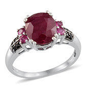 Niassa Ruby, Ruby, Thai Black Spinel Platinum Over Sterling Silver Stylish Ring (Size 9.0) TGW 6.560 cts.