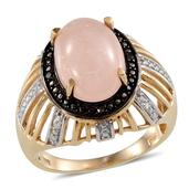Marropino Morganite, Black Diamond, Diamond 14K YG Over Sterling Silver Dome Ring (Size 10.0) TDiaWt 0.04 cts, TGW 6.890 cts.