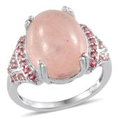 Marropino Morganite, Signity Pink Topaz Platinum Over Sterling Silver Ring (Size 8.0) TGW 11.840 cts.
