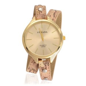 STRADA Japanese Movement Beige Band Wrap Watch with Stainless Steel Back