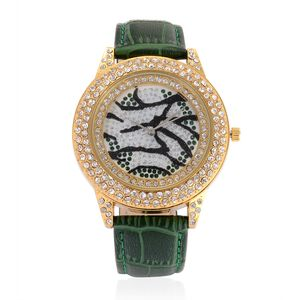 STRADA White and Green Austrian Crystal Japanese Movement Watch with Green Band and Stainless Steel Back