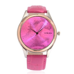 STRADA Japanese Movement Horse Face Watch with Pink Band and Stainless Steel Back