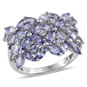 Tanzanite Platinum Over Sterling Silver Ring (Size 9.0) TGW 4.15 cts.