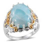 Larimar, Tanzanite Fancy Filigree 14K YG and Platinum Over Sterling Silver Ring (Size 7.0) TGW 14.450 cts.