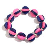 Pink and Blue Resin Bracelet (Stretchable)