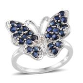 Creature Couture - Kanchanaburi Blue Sapphire, Diamond Platinum Over Sterling Silver Butterfly Ring (Size 5) TDiaWt 0.01 cts, TGW 2.011 cts.