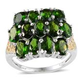 Russian Diopside 14K YG and Platinum Over Sterling Silver Openwork Square Cluster Ring (Size 9.0) TGW 5.850 cts.