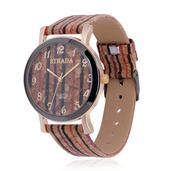 STRADA Japanese Movement Watch with Multi Color Striped Band and Stainless Steel Back