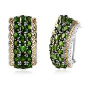 Russian Diopside 14K YG and Platinum Over Sterling Silver Earrings TGW 8.35 Cts.