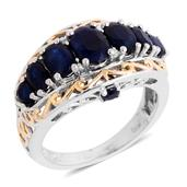 Kanchanaburi Blue Sapphire, Diamond 14K YG and Platinum Over Sterling Silver Intricate Filigree Ring (Size 7.0) , TDiaWt 0.01 cts, TGW 3.619 cts.