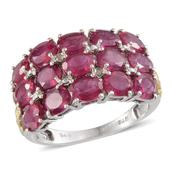 Niassa Ruby, Diamond 14K YG and Platinum Over Sterling Silver Ring (Size 7.0) TDiaWt 0.02 cts, TGW 6.520 cts.