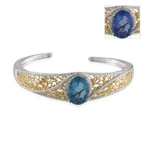 Color Change Fluorite, Diamond 14K YG and Platinum Over Sterling Silver Cuff TGW 13.76 cts.