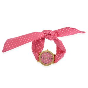 STRADA Austrian Crystal Japanese Movement Pink Polka Dot Cloth Band Watch with Stainless Steel Back