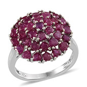 Ruby Platinum Over Sterling Silver Love Cluster Ring (Size 9.0) TGW 4.840 cts.