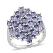 Tanzanite Platinum Over Sterling Silver Ring (Size 5.0) TGW 5.500 cts.
