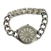 STRADA Austrian Crystal Japanese Movement Curb Link Watch in Dark Silvertone (8 In) with Stainless Steel Back