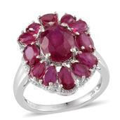 Niassa Ruby Platinum Over Sterling Silver Ring (Size 6.0) TGW 8.950 cts.