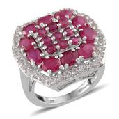 Niassa Ruby, White Topaz Platinum Over Sterling Silver Ring (Size 7.0) TGW 8.150 cts.