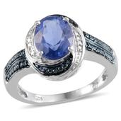 Color Change Fluorite (Ovl 4.50 Ct), Blue Diamond, Diamond Ring in Platinum Overlay Sterling Silver Nickel Free (Size 6) TDiaWt 0.020Cts., TGW 4.52 Cts.