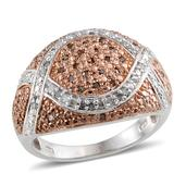 Champagne Diamond (IR), Diamond 14K RG and Platinum Over Sterling Silver Ring (Size 7.0) TDiaWt 0.50 cts, TGW 0.500 cts.