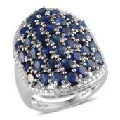 Kanchanaburi Blue Sapphire, Diamond Platinum Over Sterling Silver Ring (Size 6.0) TDiaWt 0.01 cts, TGW 8.510 cts.