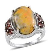 Bumble Bee Jasper, Mozambique Garnet, Diamond Platinum Over Sterling Silver Ring (Size 9) TDiaWt 0.02 cts, TGW 13.150 cts.