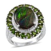 Canadian Ammolite, Russian Diopside, Diamond Platinum Over Sterling Silver Ring (Size 8.0) TDiaWt 0.02 cts, TGW 7.320 cts.