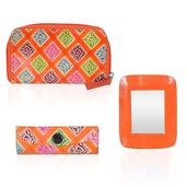 Orange Leather Mirror, Small Wallet and Lipstick Case Set