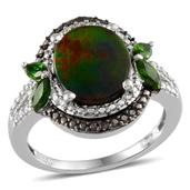 Canadian Ammolite, Russian Diopside, Black Diamond, Diamond Platinum Over Sterling Silver Ring (Size 8.0) TDiaWt 0.03 cts, TGW 3.650 cts.