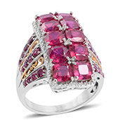 Niassa Ruby, Ruby 14K YG and Platinum Over Sterling Silver Elongated Ring (Size 11.0) TGW 10.140 cts.