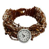 STRADA Japanese Movement Bracelet Watch with Stainless Steel Back and Bronze Seed Bead Band (8 in)