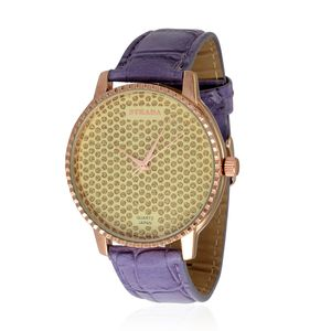 STRADA Japanese Movement Watch with Purple Band and Stainless Steel Back