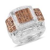Champagne Diamond, Diamond 14K RG and Platinum Over Sterling Silver Ring Set (Size 7.0) TDiaWt 0.33 cts, TGW 0.330 cts.