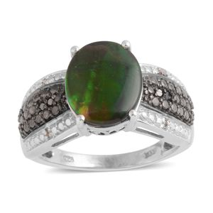 Canadian Ammolite, Black Diamond, Diamond Platinum Over Sterling Silver Ring (Size 10.0) TDiaWt 0.06 cts, TGW 3.410 cts.