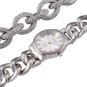 STRADA Austrian Crystal Japanese Movement Watch and Bracelet in Silvertone with Stainless Steel Back