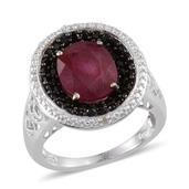 Niassa Ruby, Thai Black Spinel, Diamond Platinum Over Sterling Silver Ring (Size 7.0) TDiaWt 0.01 cts, TGW 5.660 cts.
