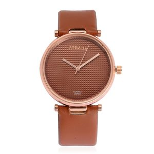 STRADA Japanese Movement Watch with Brown Band and Stainless Steel Back