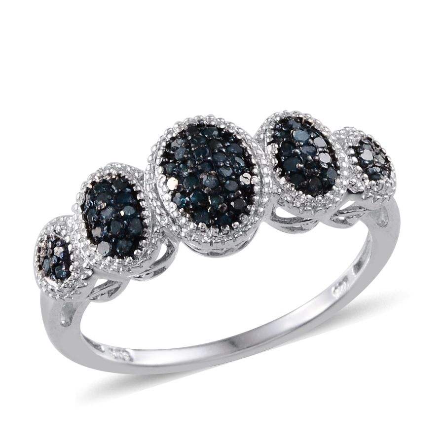 Blue Diamond (IR) Platinum Over Sterling Silver Ring (Size 8.0) TDiaWt 0.25 cts, TGW 0.250 cts.
